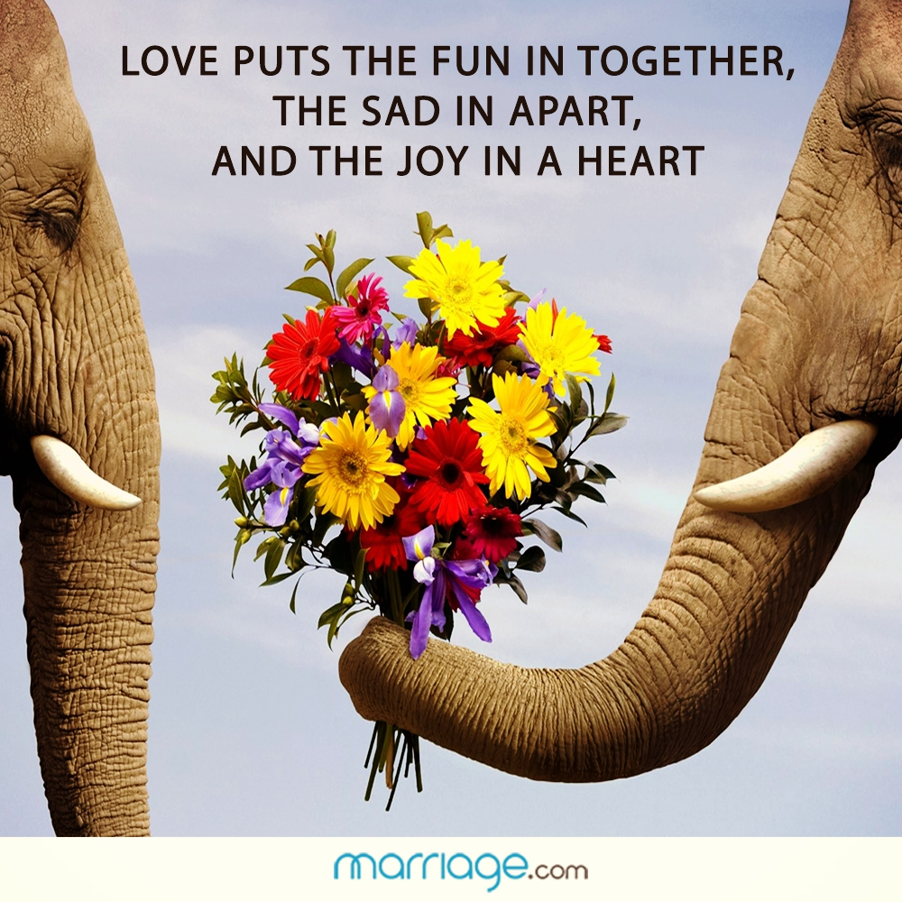 Love puts the fun in together, the sad in apart, and the joy in a heart