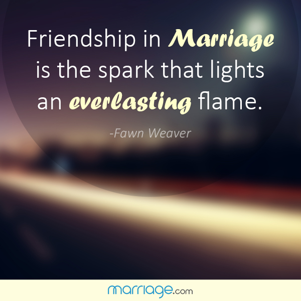 Quotes For Friend Marriage : Friendship in marriage is the spark quotes