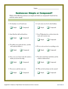 Worksheets Quiz On Types Of Sentences Simple Compound Complex Compound-complex quiz on types of sentences simple compound complex worksheets and complex