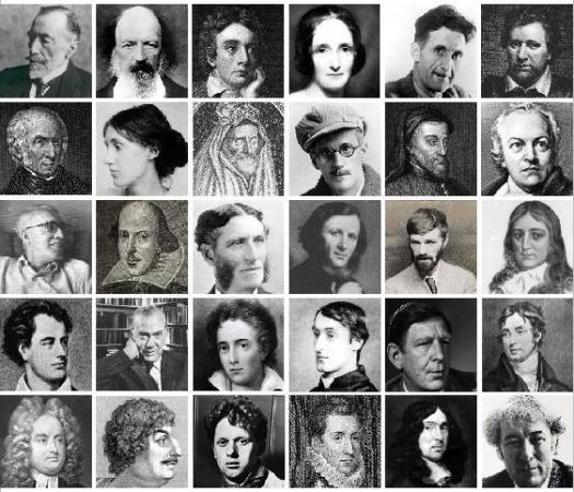 Image of several British authors as examples of different literary periods