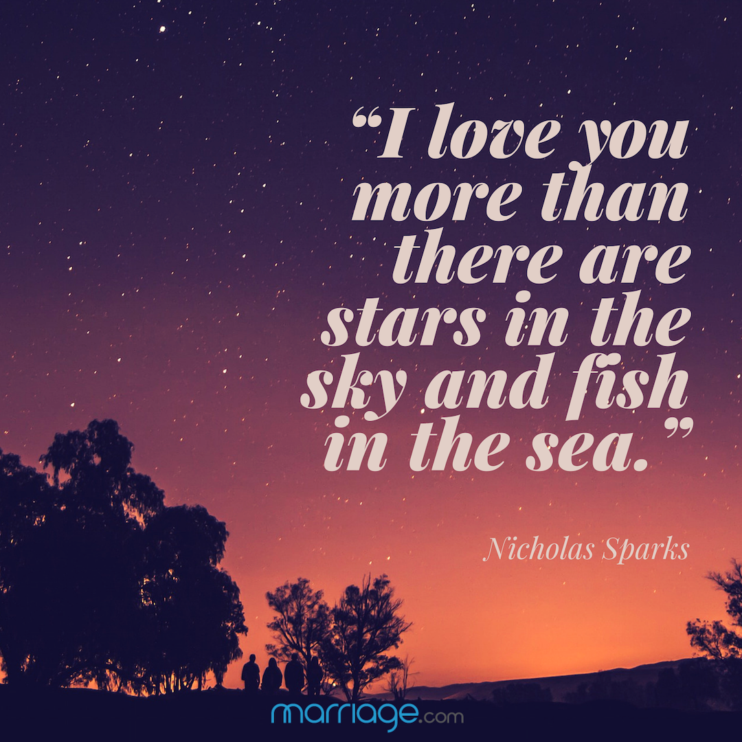 """I love you more than there are stars in the sky and fish in the sea. - Nicholas Sparks"