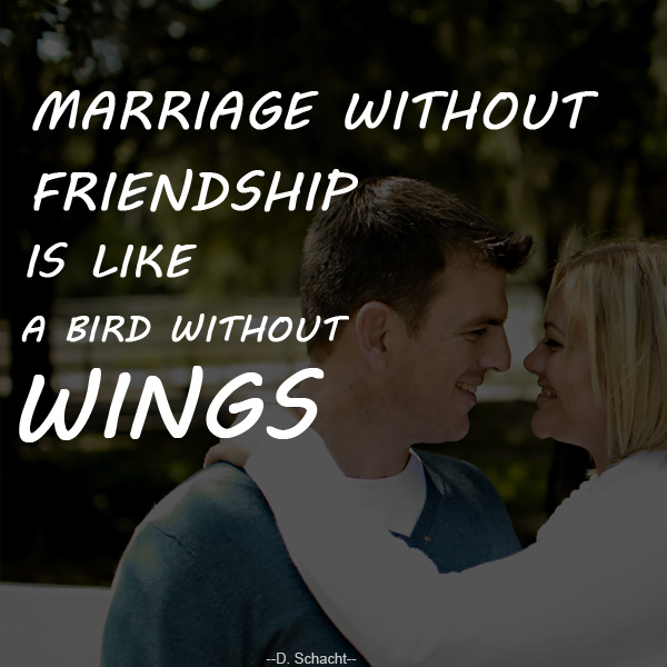 Marriage without friendship is like a bird without wings! - D.Schacht -