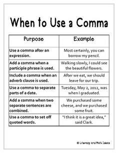 where to place commas